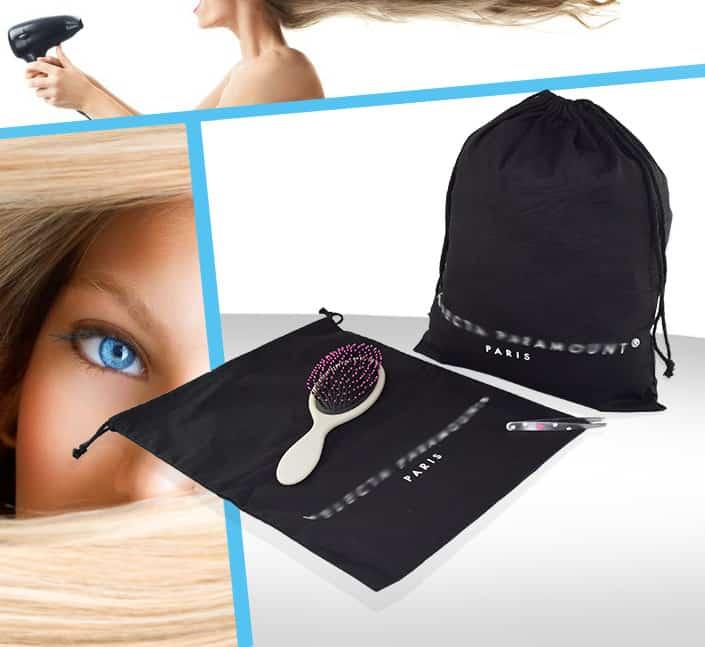 Housse de rangement accessoires cheveux coton
