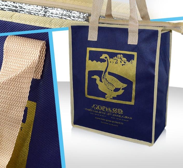 sac isotherme non tisse lamine traiteur marquage logo publicitaire serigraphie