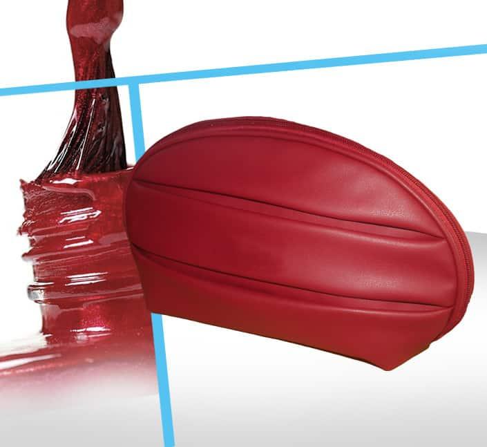 Fabricant de trousse cosmetique simili cuir rouge
