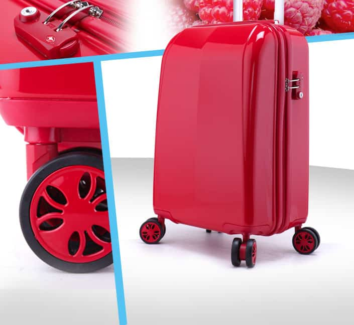 valise trolley coque dur framboise