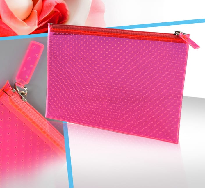 pochette cosmetique femme transparente rose fluo perforee